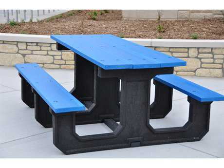 Frog Furnishings Park Place Recycled Plastic 6 ft. 72 x 58 Rectangular Picnic Table