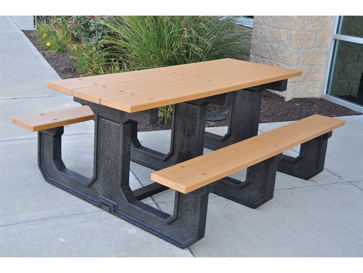 Frog Furnishings Park Place ADA Recycled Plastic 6 ft. 90 x 58 Rectangular Picnic Table PatioLiving