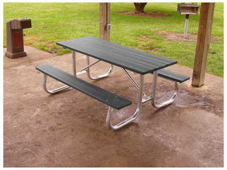 Frog Furnishings Galvanized Steel Recycled Plastic 8 ft. 96 x 70 Rectangular Picnic Table