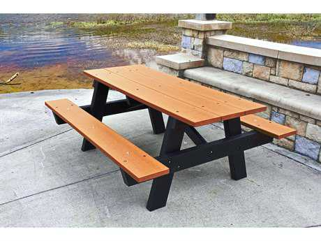 Frog Furnishings A Frame Recycled Plastic 6 ft. 72 x 60 Rectangular Picnic Table