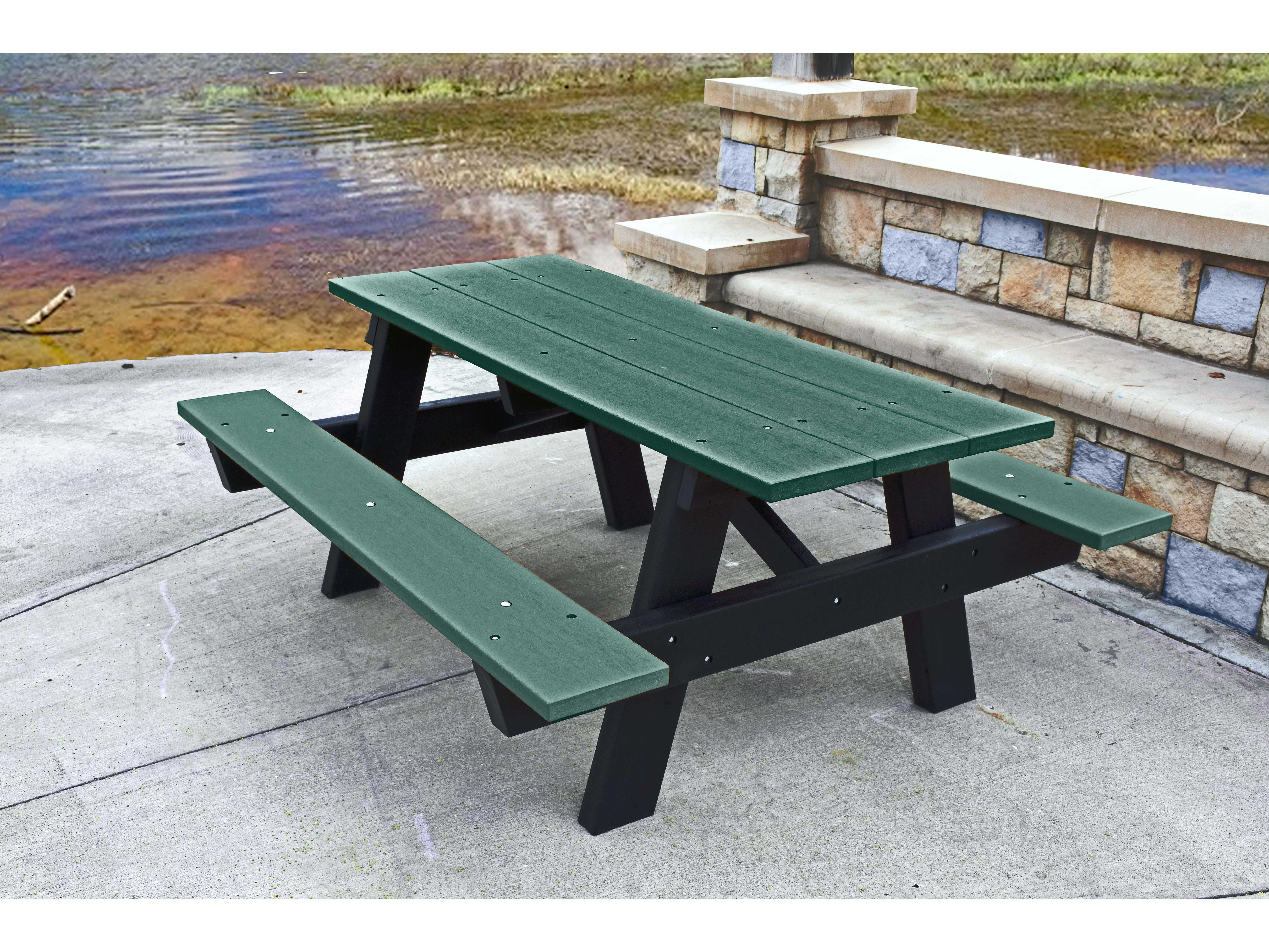 Frog Furnishings A Frame Recycled Plastic Ft X Rectangular - 96 picnic table