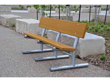 Frog Furnishings Madison Steel Recycled Plastic In-Ground Bench JHPBMADING