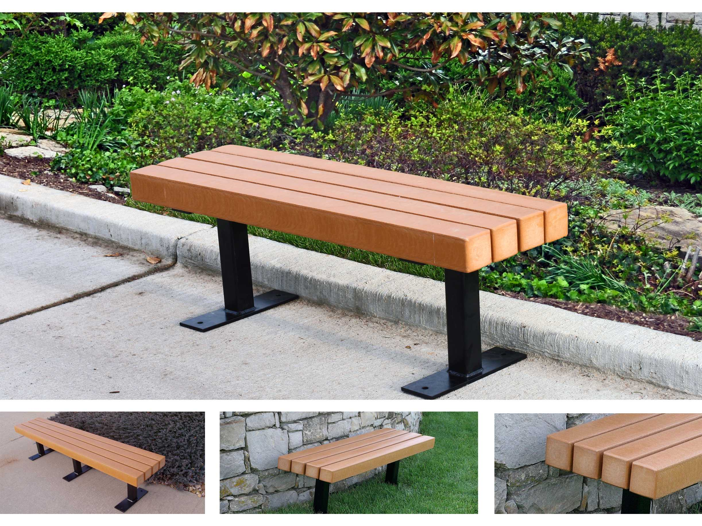 Frog Furnishings Trailside Steel Recycled Plastic Bench