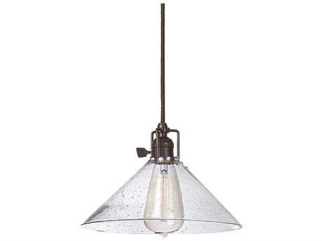JVI Design Union Square Oil Rubbed Bronze with Seeded Glass 10'' Wide Mini Pendant Light with 60'' Long Cord