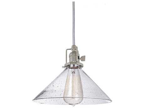 JVI Design Union Square Polished Nickel with Seeded Glass 10'' Wide Mini Pendant Light with 60'' Long Cord