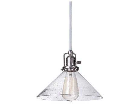 JVI Design Union Square Gun Metal with Seeded Glass 10'' Wide Mini Pendant Light with 60'' Long Cord
