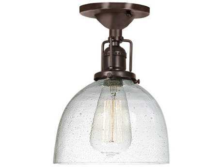 JVI Design Union Square Oil Rubbed Bronze with Bubble Glass 7'' Wide Semi Flush Mount Light