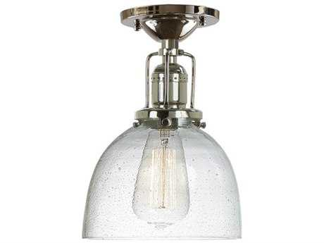 JVI Design Union Square Polished Nickel with Bubble Glass 7'' Wide Semi Flush Mount Light