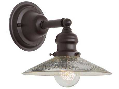 JVI Design Union Square Oil Rubbed Bronze with Antique Mercury Ribbed Glass Wall Sconce