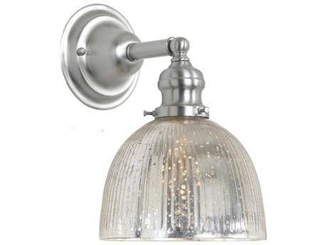 JVI Design Union Square Pewter with Antique Mercury Ribbed Glass Wall Sconce
