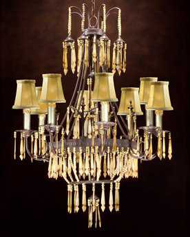 John Richard French Beige Eight-Light 28'' Wide Chandelier