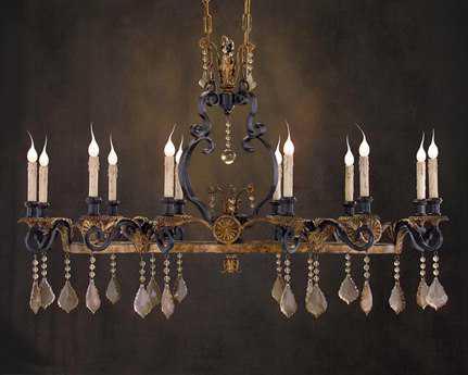 John Richard Light Antique Black - Gold 12-Light 26'' Wide Island Light
