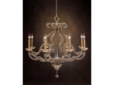 John Richard Gold Eight-Light 34'' Wide Chandelier