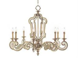 John Richard Aged Silver Eight-Light 37'' Wide Chandelier