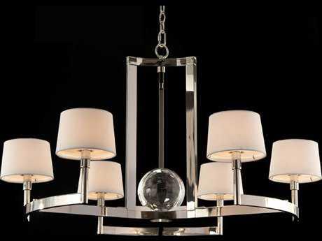 John Richard Polished Nickel Crystal Sphere Six-Bulb Grand Chandelier