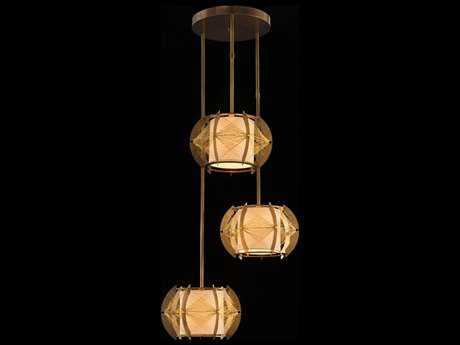 John Richard Architectural Hanging Three-Bulb Brass Pendant