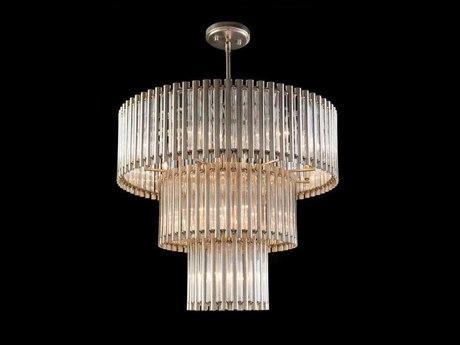 John Richard Mark McDowell Silver 18-Light 38'' Wide Chandelier with Crystal Shade