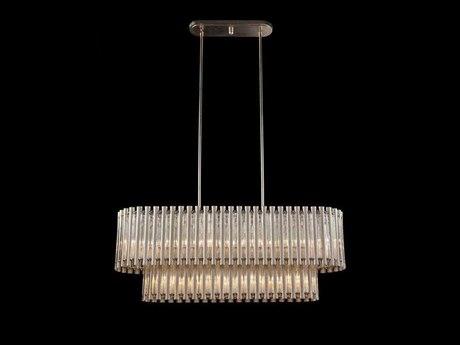John Richard Mark McDowell Crystal Tube Silver Ten-Light 47.5'' Wide Island Light