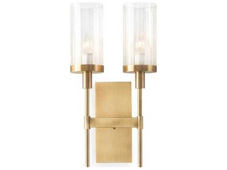John Richard Mark McDowell Brass Plated Two-Light Wall Sconce with Glass Shade