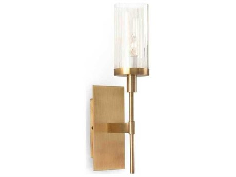 John Richard Mark McDowell Brass Plated Wall Sconce with Glass Shade