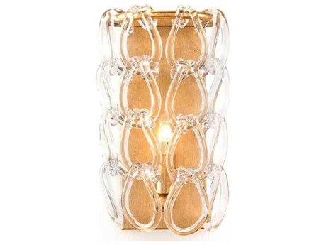 John Richard Mark McDowell Crystal Chain Coupe Brass Wall Sconce
