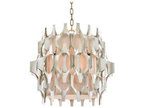 John Richard Mark McDowell Architectural Facade Antique Silver Leaf Three-Light 20'' Wide Pendant Light