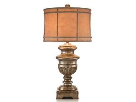 John Richard Hand Finished Antique Silver - Gold Composition Table Lamp