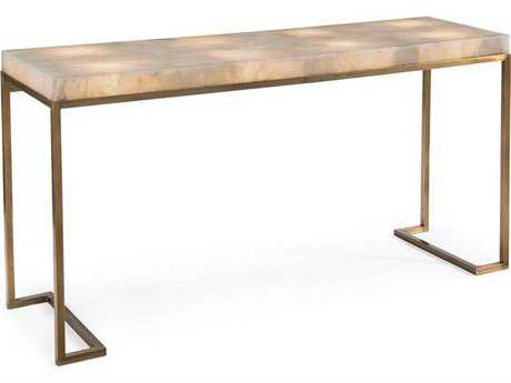 John Richard Lighted Calcite and Brass 70.75'' x 20'' Console Table