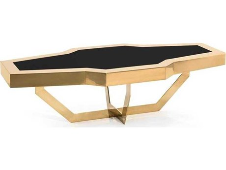 John Richard Mark McDowell Corve Brass 63'' x 29'' Rectangular Cocktail Table