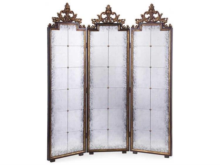 John Richard Antique Gold Mirrored Screen Room Divider JREUR080007