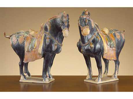 John Richard Ancient Chinese Tang Horses Decorative Sculpture (Two-Piece Set)