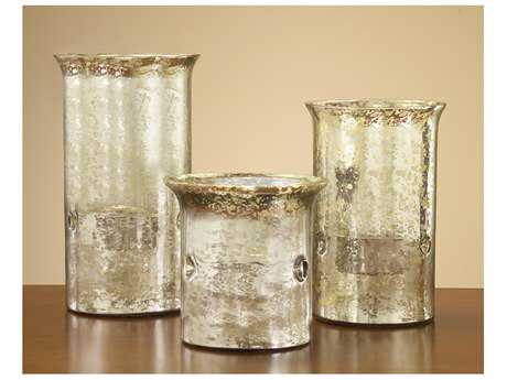 John Richard Overscale Mercury Glass Candle Holders (Three-Piece Set)