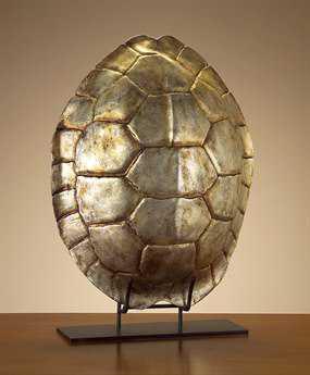 John Richard Silver Leaf Tortoise Shell Decorative Sculpture
