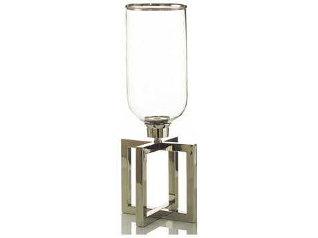 John Richard Short Nickel Candle Stand with Glass Shade