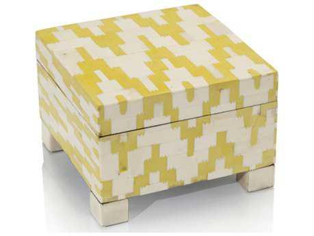 John Richard Yellow Araldite & Cream Bone Box Jewelry Box