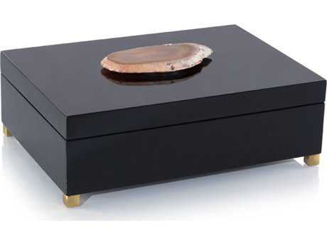 John Richard Black Box With Agate Accent Jewelry Box