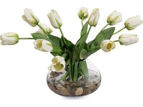 John Richard Transitional Fresh Water Look Garden Tulips Decorative Floral Arrangement