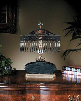 John Richard Chisel Cut Glass Brass - Black Table Lamp