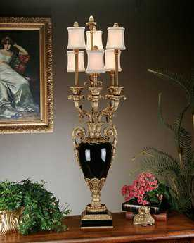John Richard 6-Arm Porcelain Elain Black - Bronze Six-Light Table Lamp
