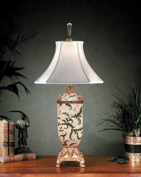 John Richard Leaves Antique White - Gold Table Lamp