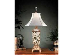 John Richard Leaves Antique White - Gold Table Lamp