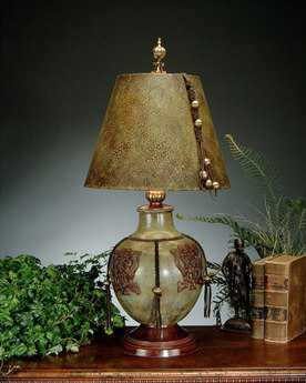 John Richard Hand-Finished Metal Urn Green - Brown Table Lamp