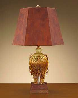 John Richard Hand-Curved Soap Stone Wood And Brass Table Lamp