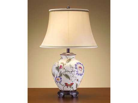 John Richard Hand-Finished Floral Pottery And Wood Table Lamp