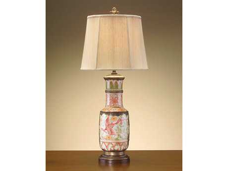 John Richard White Brass Pottery Pink - Green Table Lamp
