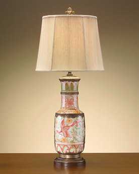 john richard white brass pottery pink green table lamp