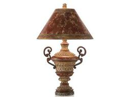 John Richard Arms Red Crusted Iron Table Lamp