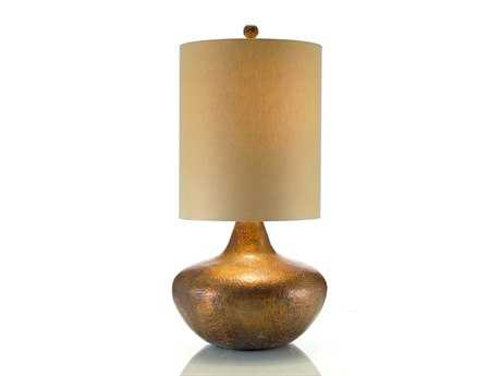 John Richard With Retro Drum Shade Hammered Copper Table Lamp