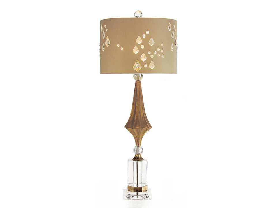 John Richard Decagon Crystal Gold Buffet Table Lamp
