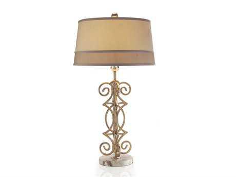 John Richard Symmetrical Shimmer Aged Silver Table Lamp